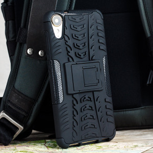 Protect your HTC Desire 10 Lifestyle from bumps and scrapes with this black ArmourDillo case. Comprised of an inner TPU case and an outer impact-resistant exoskeleton, with a built-in viewing stand.