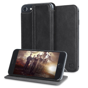 Lavish your iPhone 7 with a luxurious flip wallet case. Featuring a black genuine leather exterior with beautiful stitching details, this Olixar wallet case will also store your credit and debit cards.