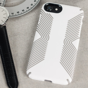 Meet the Speck Presidio Grip - the evolution of the popular CandyShell Grip case. An ultra-rugged white case made from two different protective layers for the iPhone 8 / 7 from Speck. Features enhanced drop protection and a superior matte finish.