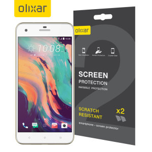 Keep your HTC Desire 10 Pro screen in pristine condition with this Olixar scratch-resistant screen protector 2-in-1 pack.