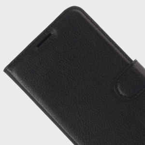 Protect your HTC Desire 10 Pro with this durable and stylish black leather-style wallet case from Olixar, featuring card slots. What's more, this case transforms into a handy stand to view media.
