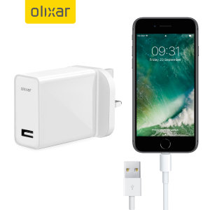 Ladda din iPhone 7 eller någon annan USB-enhet snabbt och bekvämt med denna 2.1A högeffekts lightening kompatibla UK laddnings kit. I kittet ingår en UK väggadapter och lightening-kabel.