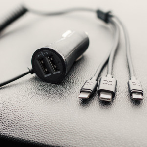 Simultaneously charge up to five devices in your car with the Promate 3-in-1 Universal Car Charger. Comes complete with built-in USB-C, Micro USB and Lightning connectors as well as two USB ports for charging any USB-compatible device.