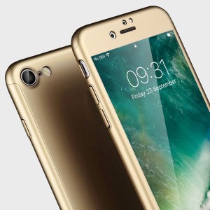 Full front, back and screen protection is as easy as 1-2-3 with the Olixar X-Trio in gold. With a slimline shell for the back and front that clips together seamlessly and a tempered glass screen protector, your iPhone 7 is fully encased and safe.