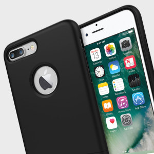 A sleek and slimline soft-touch black case for the iPhone 7 Plus. Offering superb protection, minimal bulk and an integrated kickstand for viewing media.