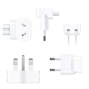 This World Travel Adapter Kit by Apple includes a set of seven plugs with pins that fit different power sources around the world, each plug has the regions it is compatible in laser etched on to it.