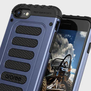 The Araree Wrangler Force Case in gravity blue is a fantastic dual-layered rugged case for the iPhone 7, with a tough looking robust design that provides extreme impact absorption where your phone needs it most