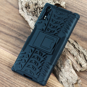 Protect your Sony Xperia XZ from bumps and scrapes with this black ArmourDillo case. Comprised of an inner TPU case and an outer impact-resistant exoskeleton, with a built-in viewing stand.