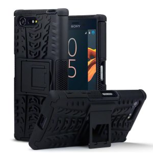 Protect your Sony Xperia X Compact from bumps and scrapes with this black ArmourDillo case. Comprised of an inner TPU case and an outer impact-resistant exoskeleton, with a built-in viewing stand.