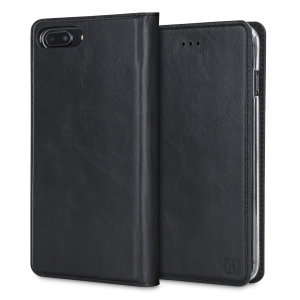A premium slimline lightweight black genuine leather case. The Olixar genuine leather executive wallet case offers perfect protection for your iPhone 8 / 7 Plus, as well as featuring a smart magnetic media stand slots for your cards, cash and documents.
