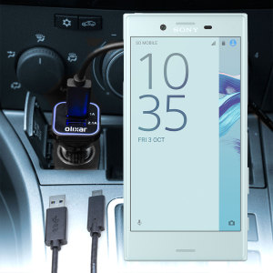 Keep your Sony Xperia X Compact fully charged on the road with this compatible Olixar high power dual USB 3.1A Car Charger with an included high quality USB to USB-C charging cable.