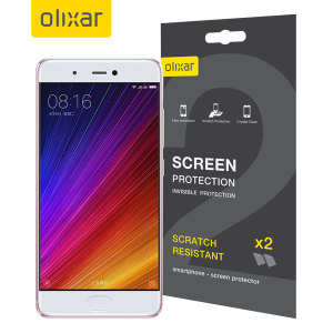 Keep your Xiaomi Mi 5s screen in pristine condition with this Olixar scratch-resistant screen protector 2-in-1 pack.