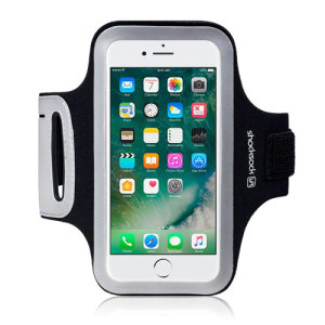 Carry your Apple iPhone 7 securely while you're exercising using the Shocksock Armband in black. This comfortable armband is flexible and adjustable and made out of a lightweight material.