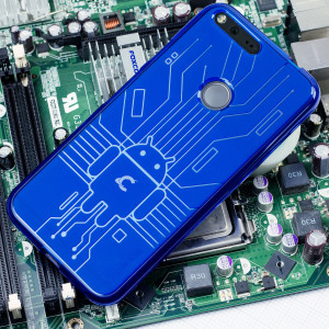 Keep your Google Pixel protected from damage with this Android-circuitry inspired, durable blue coloured TPU case by Cruzerlite.