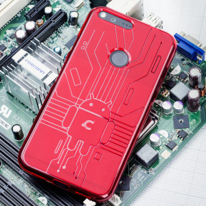 Keep your Google Pixel protected from damage with this Android-circuitry inspired, durable red coloured TPU case by Cruzerlite.