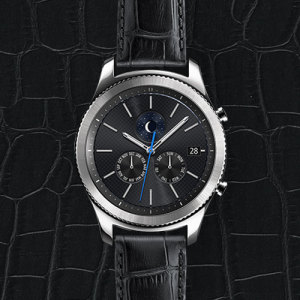 Official Samsung Gear S3 Alligator Grain Leather Strap - Black