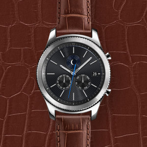 Treat your brand new Gear S3 smartwatch with the ultra-high quality Alligator Grain Leather strap in brown. Comfortable, durable and stylish, this strap is the perfect way to personalise your Gear S3. Size M.