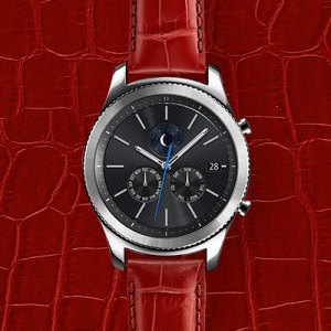 Treat your brand new Gear S3 smartwatch with the ultra-high quality Alligator Grain Leather strap in red. Comfortable, durable and stylish, this strap is the perfect way to personalise your Gear S3. Size M.
