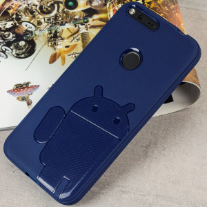 Keep your Google Pixel protected from damage with this Android inspired, durable blue coloured TPU case with Robot motif by Cruzerlite.