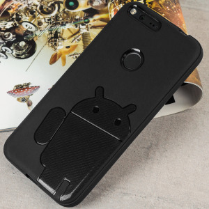 Keep your Google Pixel protected from damage with this Android inspired, durable black coloured TPU case with Robot motif by Cruzerlite.