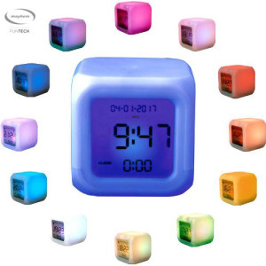The Mayhem Aurora alarm clock offers a fun, fresh way to wake up in the morning. Touch the surface of this timepiece and it lights up in an array of different colours depending on the hour. It also displays the date, day of the week and alarm time.