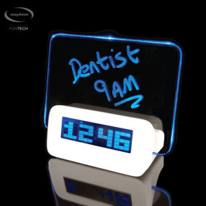 Keep your appointments with the Mayhem Scribble Alarm Clock. Write down doctor's appointments, birthdays, holiday dates or whatever you need on the included wipe board, then watch it glow when the alarm goes off, reminding you in a unique and stylish way.