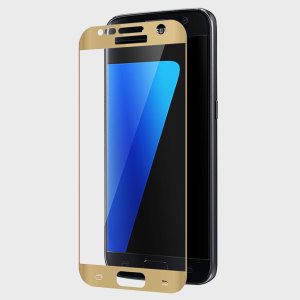 Protect all of your Samsung Galaxy S7's beautiful curved display with the full body, edge to edge tempered glass screen protector from Zizo in gold. With superb clarity and durability, this is the perfect way to keep your screen looking pristine.