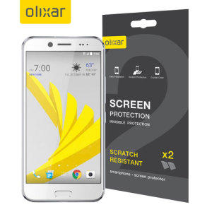 Keep your HTC Bolt or HTC 10 evo screen in pristine condition with this Olixar scratch-resistant screen protector 2-in-1 pack.