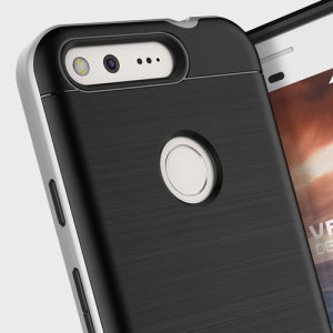 Protect your Google Pixel with this precisely designed high pro shield series case in Satin Silver from VRS Design. Made with tough dual-layered yet slim material, this hardshell body with a sleek bumper features an attractive two-tone finish.