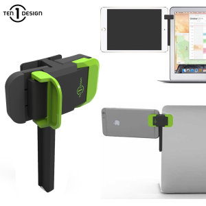 Multitask to the max with the Mountie Universal Laptop Clip from Ten One Design. This secure, stable mount attaches your smartphone or tablet to your laptop, PC monitor or TV, creating a cost-effective, intuitive multi-screen setup.