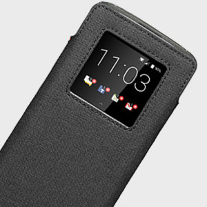 Official Blackberry Smart Pocket DTEK60 Genuine Leather Case - Black
