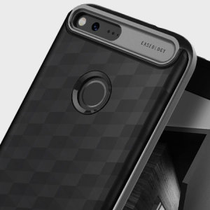 Protect your Google Pixel XL with this stunning premium dual-layered shell case in black. Made with tough dual-layered yet slim material, this hardshell body with a sleek metallic bumper features an attractive two-tone finish.