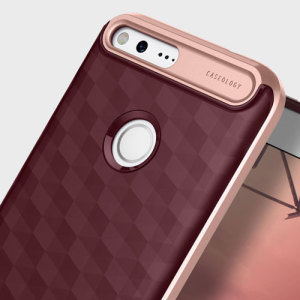 Protect your Google Pixel XL with this stunning premium dual-layered shell case in burgundy and rose gold. Made with tough dual-layered yet slim material, this hardshell body with a sleek metallic bumper features an attractive two-tone finish.