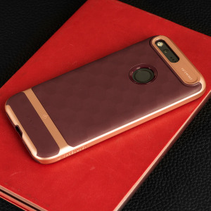 Protect your Google Pixel with this stunning premium dual-layered shell case in burgundy and rose gold. Made with tough dual-layered yet slim material, this hardshell body with a sleek metallic bumper features an attractive two-tone finish.
