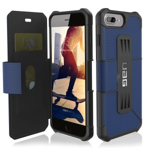 Coque iPhone 7 Plus UAG Metropolis Rugged Wallet Portefeuille – Bleue