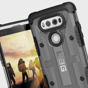 Urban Armour Gear bietet Schutz für das LG V20. Die TPU Hülle hat ein gebürstetes Metall UAG Logo integriert.