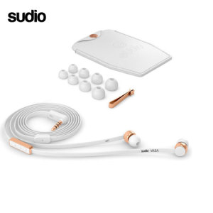 Ecouteurs intra auriculaires Sudio VASA pour Android – Blanc / Or rose