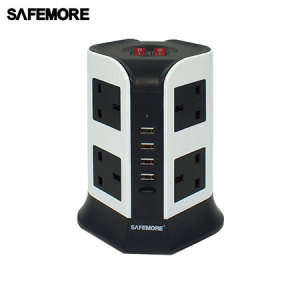 Featuring an impressive 8 UK AC mains sockets as well as 4x standard USB ports for charging a variety of devices, this vertical power strip from Safemore is an excellent solution for families, businesses or those with a huge gadget collection.