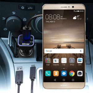 Håll din Huawei Mate 9 fullt laddad på vägen med den 3.1 A billaddaren. Som en extra bouns kan du ladda en extra USB-enhet från den inbyggda USB-porten.