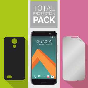 Guard your beautiful HTC 10 from damage with the Olixar Total Protection Pack. Featuring an ultra-slim case and an ultra-response full cover glass screen protector, this pack provides the ultimate in lightweight protection.