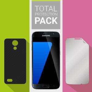 Protégez votre magnifique Samsung Galaxy S7 des dommages occasionnels du quotidien grâce au pack Olixar Protection Totale. Ce pack est constitué d'une coque ultra fine et d'un pack de 2 protections d'écran Olixar. En soit, ce pack offre à votre smartphone une protection complète, légère et très efficace.