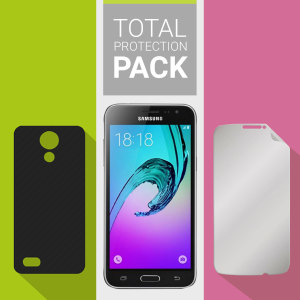 Guard your beautiful Samsung Galaxy J3 2016 from damage with the Olixar Total Protection Pack. Featuring an ultra-slim case and an ultra-response glass screen protector, this pack provides the ultimate in lightweight protection.