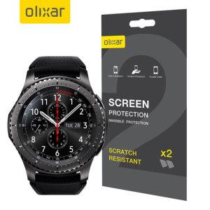 Houdt het scherm van je Samsung Gear S3 in onberispelijke staat met deze Olixar krasbestendige screen protector 2-in-1 verpakking.