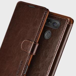 La funda VRS Design Dandy para el LG V20 incluye ranuras para almacenar tarjetas, un bolsillo largo para documentación y está fabricada de un material premium muy similar al cuero.