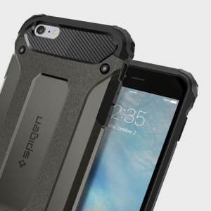 Let the Tough Armor Tech case in metal slate protect your iPhone 6S Plus / 6 Plus whilst keeping it incredibly slim. The flexible TPU and hard PC exterior combine perfectly, and also feature Spigen's Air Cushion technology for extreme protection.