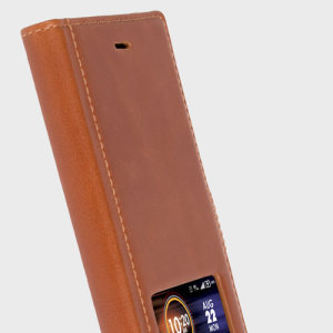 The Sigtuna Smart Window Case for Sony Xperia XZ from Krusell combines a premium, professional full-grain leather construction with an app-enabled smart window, perfect for viewing notifications or checking who's calling at a glance.
