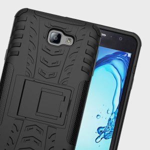 Protect your Samsung Galaxy J7 Prime from bumps and scrapes with this black ArmourDillo case. Comprised of an inner TPU case and an outer impact-resistant exoskeleton, the ArmourDillo offers sturdy and robust protection, but also a sleek modern styling.