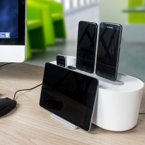 Put an end to that tangled nest of wires with this elegant cable manager from Brightstone. Dock your smartphone or tablet while concealing your charging cables inside a sleek, minimalist design that's perfect for home, office or anywhere.