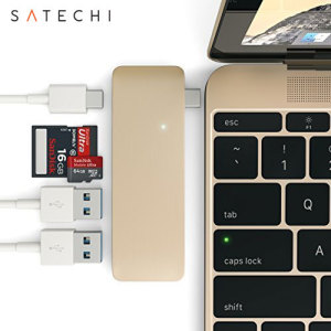 Using the USB-C (USB Type-C) port on your MacBook 12 inch, add 2 full-sized USB ports, an SD card slot and a micro SD card slot to your computer using this Satechi adapter in gold. Plug in USB devices such as a keyboard, mouse or printer to your MacBook.