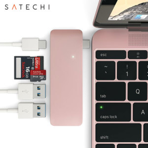 Using the USB-C (USB Type-C) port on your MacBook 12 inch, add 2 full-sized USB ports, an SD card slot and a micro SD card slot to your computer using this Satechi hub in rose gold. Plug in USB devices such as a keyboard, mouse or printer to your MacBook.